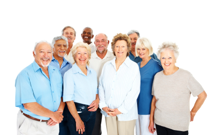 Happy group of senior citizens against white background